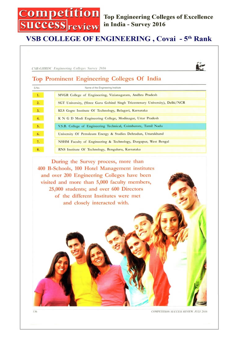 VSB College of Engineering technical Campus, Covai – 5th Rank